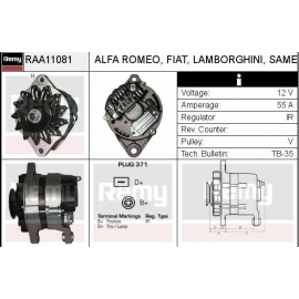 AS-4039 AS ΔΥΝΑΜΟ 14V 55A MARELLI FIAT